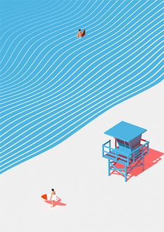 Graphic Design Inspiration: 30 Hot and Expressive Summer Illustrations Vague Illustration, Illustration Design Graphique, Beach Illustration, Illustrations, Digital Illustration, Graphic Illustration, Poster Surf, Posca Art, Isometric Design