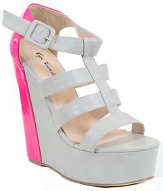 Caged Two-tone High Platform Wedge Heel Shoes