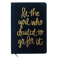 """Write down all of your goals and dreams in our hand lettered Be The Girl Who Decided To Go For It Black and Gold Fabric Journal! With this chic, stylish, easy to write on notebook, there's no better place to jot down motivational notes, inspirational quotes, lists, and all of your great ideas! Perfect for work or school. Details: 8.1 x 5.6 x .6"""" /Hand Lettered Design: Be The Girl Who Decided To Go For It + Black Fabric Journal With Gold Foil Details /100gsm Uncoated Lined Paper Black White And Gold Bedroom, Black White Gold, Gold Fabric, Black Fabric, Pink Office Decor, White Office, Gold Bedroom Decor, Glam Bedroom, Gold Quotes"""