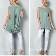 •moss green open back top• Top features an open slit in the back and high low design.  Material is 95% viscose and 5% Lycra.  Small bust measures 40 inches, length in front 27, length in back 32. Medium bust measures 42 inches, length in front 27 inches, back 32. Large bust measures 44 inches, length in front 27 inches, back 33. Price firm unless bundled.   Please if I am unavailable you may buy this listing and just leave a note in size( I can't respond while I'm at work). All items shown…
