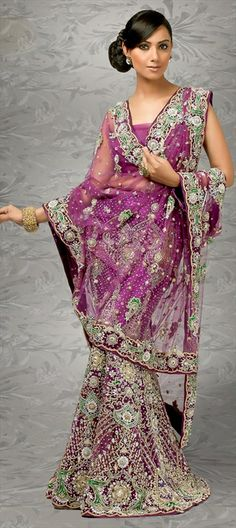 Purple and Green Indian Wedding Gown
