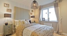 Bloor Homes - the same house as before, we have a fabulous interior designed bedroom using textiles & textures rather than colour as its interest.  Very soothing tones, using french linen and french bedside tables.