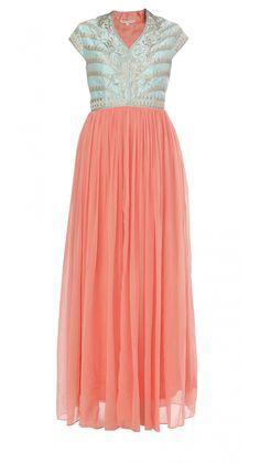Buy Anita Dongre's Peach Georgette Gown Online - Jiva