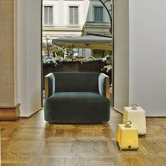 PROMEMORIA, made in Italy: Boccaccio armchair, project by Romeo Sozzi. Armchair…