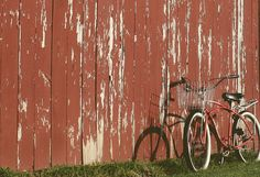 bicycle by old barn by Rebecca Sower