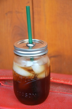 DIY Mason jar to-go cup! Poke hole in lid and widen to fit straw, glue #14 washer over hole.
