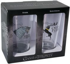 Drink like a member of House Baratheon or House Stark! Great pint glasses feature the sigils of House Stark and House Baratheon. Based off of the Game of Throne Hbo Tv Series, Book Series, Horse Games, Shot Glass Set, Set Game, Pop Vinyl Figures, Dark Horse, Crystal Ball, Mugs