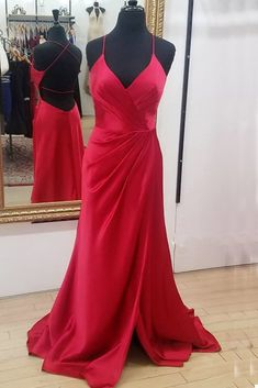 Simple Red Satin Backless V Neck Long Dress Side Slit Prom Dress Satin Color, Red Satin, Side Slit Dress, Prom Dresses, Formal Dresses, Evening Gowns, Backless, Dresses With Sleeves, Simple