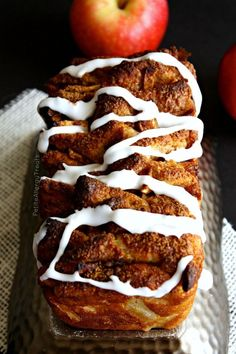Gluten Free Apple Pull Apart Bread (dairy free egg free vegan)- Sweet and sticky slices of bread filled with warm cinnamon and apple!