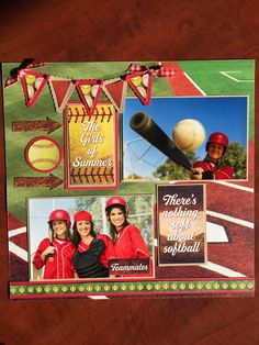 A softball page created with Reminisce Softball paper.