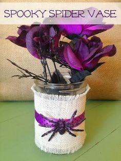 Dollar Store #HalloweenCraft Idea- Spooky Spider Vase