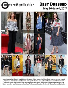 Large images: Keri Russell in a Johanna Ortiz top; Chloe Bridges in Polite. Small images, top row: Maggie Gyllenhaal in Jason Wu; Isla Fisher in Kate Spade. Second row: Julianne Moore in Giambattista Valli; Gabrielle Union in Prabal Gurung. Bottom row: Hilary Swank in Mission Statement; Keri Russell; Zoe Lister-Jones in Mary Katrantzou; Katie Lee; Ari Graynor; Brooklyn Decker. All Photos: Everett Collection