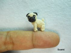 Micro Miniature Tan Pug Dog - Teeny Tiny Dollhouse Miniature Pet - Thread Crochet Animals - Made To Order. $55.00, via Etsy.