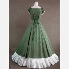 18th Century Gothic Style Lolita Green and White Color Long Dress