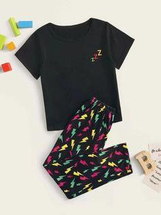 Boys Lightning Print Pajama Set – Agodeal Satin Pj Set, Trendy Fashion, Fashion Outfits, Sleepwear & Loungewear, Galaxy Print, Pj Sets, Camo Print, Pajama Set, Lounge Wear