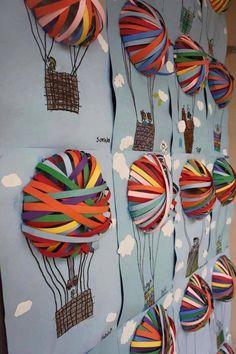 Craft idea for children - hot air balloons with paper Bastelidee für Kinder – Heißluftballons mit Papierstreifen. Craft idea for children – hot air balloons with paper strips. Fun Diy Crafts, Diy Arts And Crafts, Summer Crafts, Diy Craft Projects, Crafts For Kids, Paper Crafts, Paper Paper, Craft Ideas, Diy Ideas