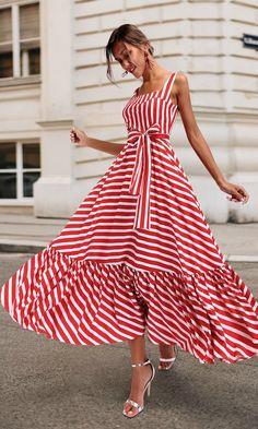 Boho Summer Beach Dress Women Spagetti Strap Red Striped Dress Plus Size Ruffle Long Maxi Dress Xxxl – Mode Outfits Striped Maxi Dresses, Women's Dresses, Casual Dresses, Short Dresses, Fashion Dresses, Hijab Casual, Dresses Online, Red Maxi, Party Dresses