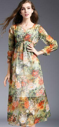 Bohemian Print V-Neck 3/4 Sleeve High Waist Maxi Dress
