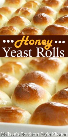 Homemade Yeast Rolls, Homemade Dinner Rolls, Dinner Rolls Recipe, Fluffy Yeast Rolls Recipe, Honey Rolls Recipe, Best Yeast Rolls, Rock Crock Recipes, Honey Recipes, Baking Recipes