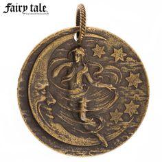 Antique Brass Plated Moon Maiden Pendant