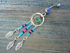 dreamcatcher belly ring turquoise blue pink and black beads in native american inspired tribal boho hippie belly dancer and hipster style