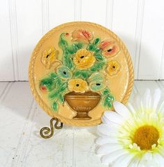Round Relief Floral ChalkWare Plaque  Vintage by DivineOrders, $12.00