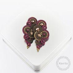 Kavrila - biżuteria autorska . sutasz . soutache: Lispiro burgundy soutache