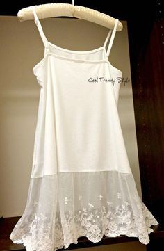 Lace Tank Extender Off White Top Shirt Womens Top Slip Extender, Shirt Extender…