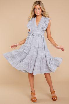 Grey Striped Dress - Short Dress - Sun Dress - $49 – Red Dress Boutique