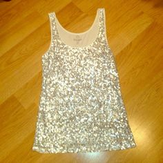 Sequin tank Cream tank with all over sequins on the front Old Navy Tops Tank Tops