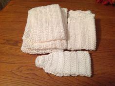 Crochet white cowl scarf,boot cuffs and ear warmer