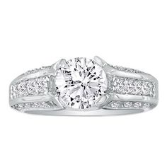 Hansa 3.66ct Diamond Round Engagement Ring in 14k White Gold, H-I, SI2-I1, Available Ring Sizes 4-9.5