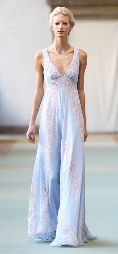 Luisa Beccaria Light Blue floral printed georgette long dress