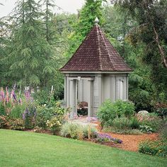 Cottage-Style Gazebo This adorable outdoor garden structure looks like it was plucked from the pages of a fairy tale. The shingled roof (with decorative finial) offers protection from sun and rain. See-through lattice panels form the sides, offering a shield from the elements and allowing gentle breezes to blow through.