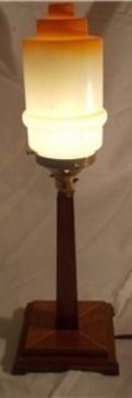Art Deco Oberlisk table lamp with Skyscrapper stepped shade. £ 100. @ http://maxartdeco.binary-synergy.com/