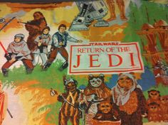 Vintage bedding - Return of the Jedi;  Flat sheet made into crib sheet and changing pad cover.