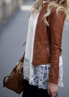 love the long lace top under the fitted leather jacket... relaxed, romantic