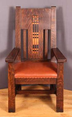Shop of the Crafters inlaid Oak Arm Chair : Lot 46 Craftsman Style Furniture, Craftsman Decor, Mission Style Furniture, Craftsman Interior, Craftsman Homes, Craftsman Chairs, Arts And Crafts Furniture, Diy Outdoor Furniture, Furniture Projects