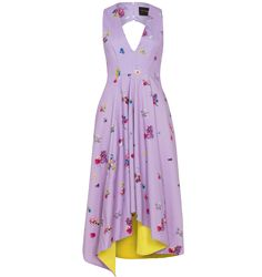Scottacus Anthony - V neck dress with asymmetric drapes, front adorned with vibrant florals and hidden vipers and pops of contrasting zesty yellow lining. Features cut out back with covered buttons detail and side seam pockets.  #dress #floral #jewels #print #scottacusanthony #snake #v-neck #viper #lilac