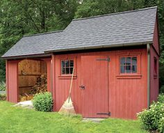 This is what I'd like to have.  And enclosed area and then an open area.  storage-shed-ideas-
