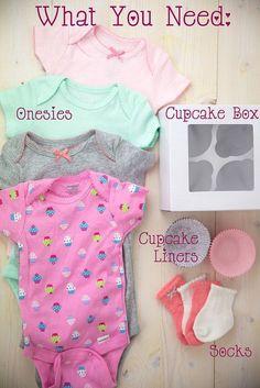 Onesie Cupcake Baby Shower Gift #SavingsCatcher Gifts for baby showers #babyshowergifts