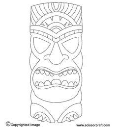 Hawaiian Luau week-tiki statue - print to make masks or use as idea for kids to use as inspiration to draw their own masks Aloha Party, Hawaiian Luau Party, Hawaiian Tiki, Hawaiian Birthday, Hawaiian Theme, Tiki Party, Tropical Party, Beach Party, Luau Birthday