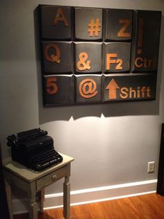 Love the contrast I did with the vintage typewriter I found in the attic when I bought the house from my aunt (and original owner of our home) with the industrial style keyboard art piece I found for the wall.
