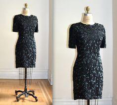 Vintage 90s Black Sequin Dress Size M by Hookedonhoney on Etsy #vintagesequindress #sequindress #dress #90spromdress #promdress #vintage #Blacksequindress
