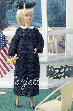 Graduation Gown & Cap, crochet patterns fit Barbie doll