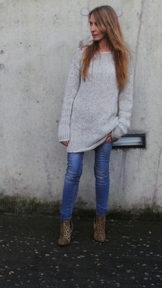 Grauer Pullover Kleid Damen stricken Kleid langer von ileaiye