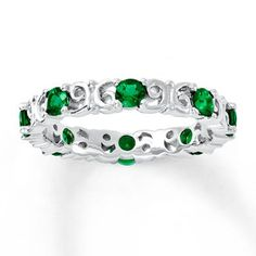 This stackable ring has eight lab-created emeralds in a band of swirling sterling silver. The band is wide. Rings Online, Stackable Rings, Emeralds, White Gold Rings, Fashion Rings, Jewelry Art, Sterling Silver Rings, Turquoise Bracelet, Lab