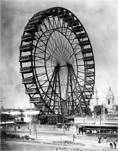 The 264' Ferris Wheel was originally built for the 1893 Chicago World's Fair, and was transported to St. Louis for the 1904 World's Fair. Each of its 36 wooden cars held 60 people for a total capacity of 2160 riders. Rides cost 50 cents. Grand dinners and even weddings took place in the spacious cars. It was destroyed for scrap after the Fair in May 1906, when attempts to sell or relocate the gigantic wheel failed.