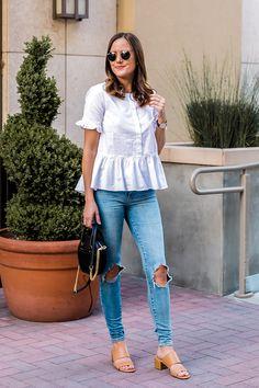 White Peplum Button-Down and Denim — Girl Meets Gold White Top And Jeans, White Peplum Tops, White Tops, White Outfits For Women, Clothes For Women, Cool Outfits, Casual Outfits, Fashion Outfits, Neutral Sandals