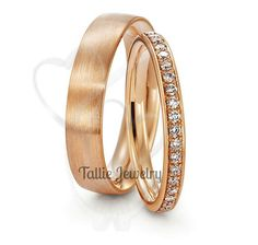 10K Rose Gold His & Hers Mens Womens Matching by TallieJewelry
